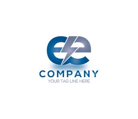 EE Alphabet Electric Logo Design Concept