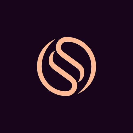 Elegant letter S in circle shape, Luxury SS Monogram, Minimal circular SS  for fashion, cosmetic business company .vector