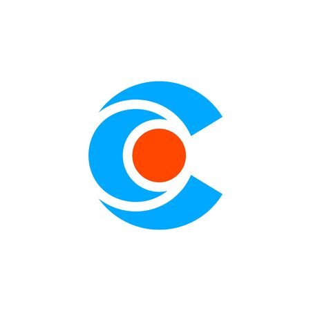 minimalist and simple modern Letter C with Central aspect, center icon, Circle Letter C with dot in the middle .vector Ilustracja