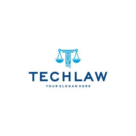minimalist TECHLAW circuit icon line weigher logo design Logo