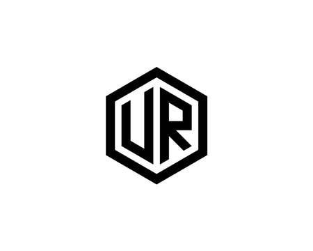 UR RU logo design vector template