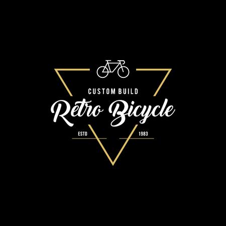 Retro Vintage Bicycle Label Design Illustration