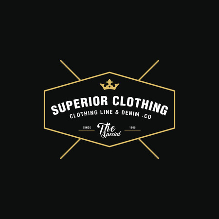 clothing label: Vintage denim and Classical Clothing line label Illustration