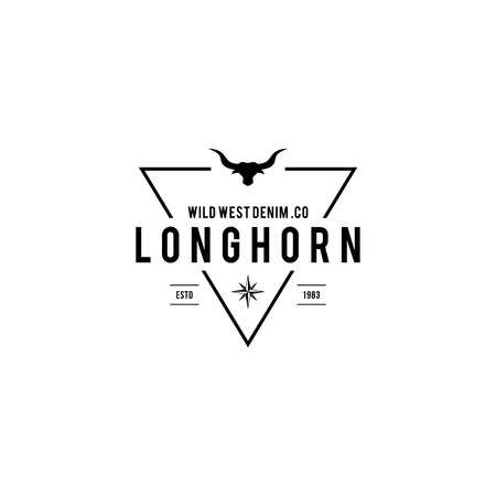 texas longhorn cattle: Vintage label with silhouette of bull head. Texas Wild West Theme. illustration Illustration