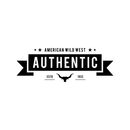 Vintage label with silhouette of bull head. Texas Wild West Theme.  illustration