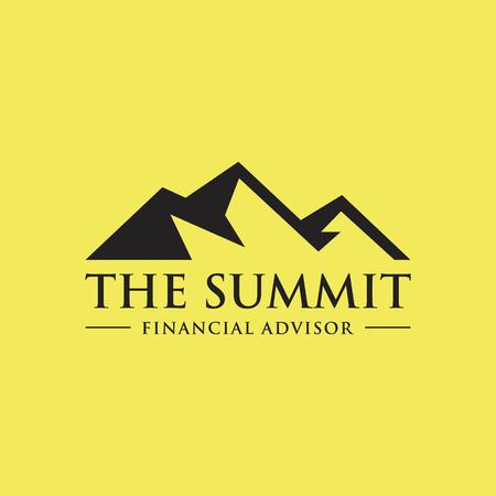 fiambres: ilustración de la montaña, la naturaleza concepto de logotipo, cumbre, pico
