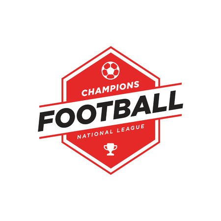 Soccer Logo in Black and Red, Vintage Style.