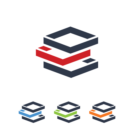 Abstract Technology Symbol, Stacked Layer Data Symbol Vettoriali