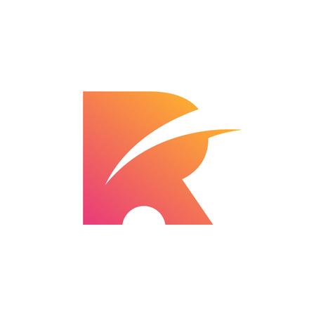 Stylish Letter R. Rectangle Icon. Creative Design
