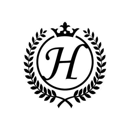 Royal letter H symbol Illustration