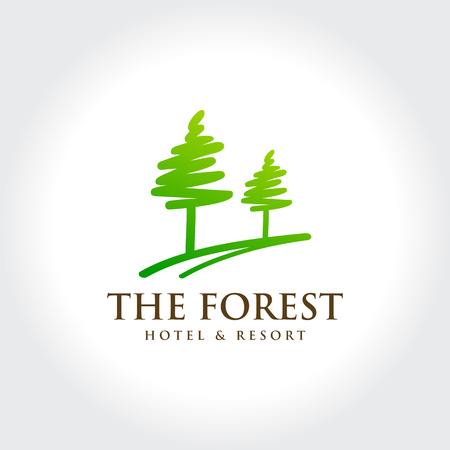 pine forest: Pine Forest Hotel and Resort Illustration