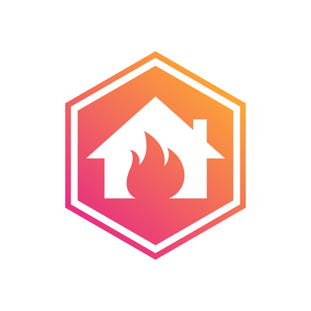 house fire: House Fire. Prevent fire. Hexagon Illustration
