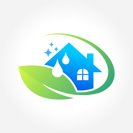 Cleaning Service Business design, Eco Friendly Concept for Interior, Home and Building  イラスト・ベクター素材