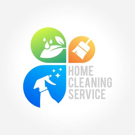 청소 서비스 비즈니스 디자인, 인테리어, 가정 및 건물에 대한 친환경 개념 일러스트