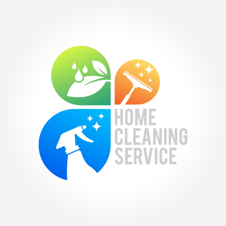 Cleaning Service Business design, Eco Friendly Concept for Interior, Home and Building Çizim