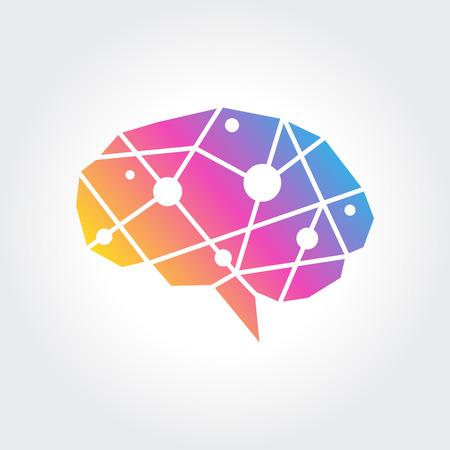 Brain Logo silhouette design vector template. Think idea concept