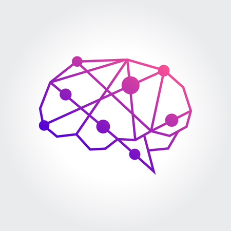 Brain Logo silhouette design vector template. Think idea concept