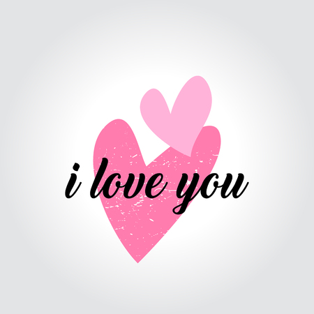 I love you message and heart icons badges