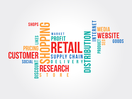 e-commerce word cloud, shopping, retail concept