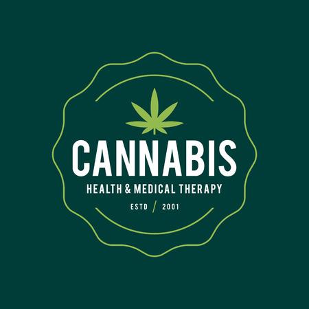 Vintage Marijuana label design, Cannabis Health and Medical therapy, vector illustration