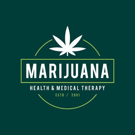 Vintage Marijuana Label Design, Cannabis Gesundheit und medizinische Therapie, Vektor-Illustration Standard-Bild - 79314115