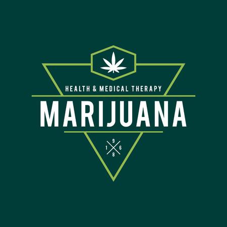 bong: Vintage Marijuana label design, Cannabis Health and Medical therapy, vector illustration