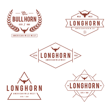 Vintage label with silhouette of bull head, Texas Wild West theme in white background Illustration