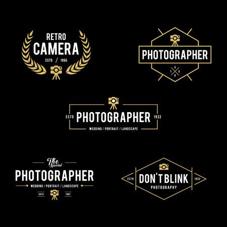 Set of Vintage photography badges and labels Çizim