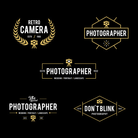 Set of Vintage photography badges and labels Illustration