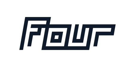 custom modern number four symbol