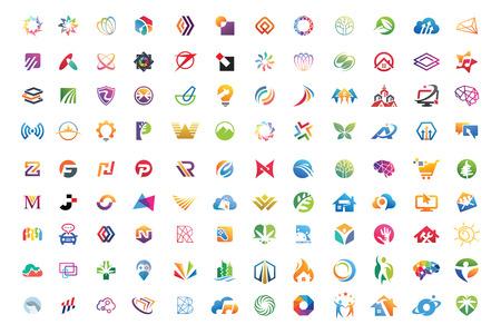 Logo mega collecties abstracte geometrische zakelijke pictogrammenset vector eps 10