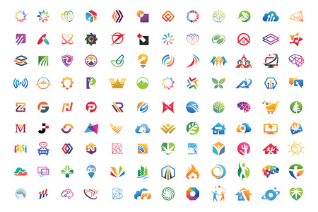 Logo mega collections abstract geometric business icon set vector eps 10 Illustration