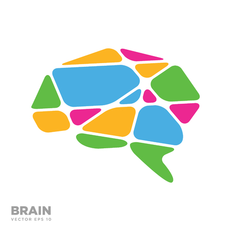 Brain Logo silhouette design vector template eps 10, Think idea concept Illustration