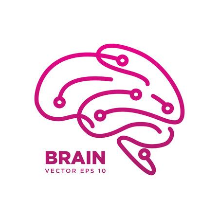 Brain Logo silhouette design vector template eps 10, Think idea concept Vettoriali