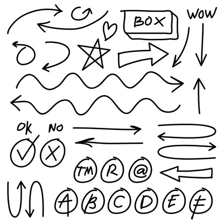 Hand drawn vector arrows set on white background. Doodle infographic design elements Illustration
