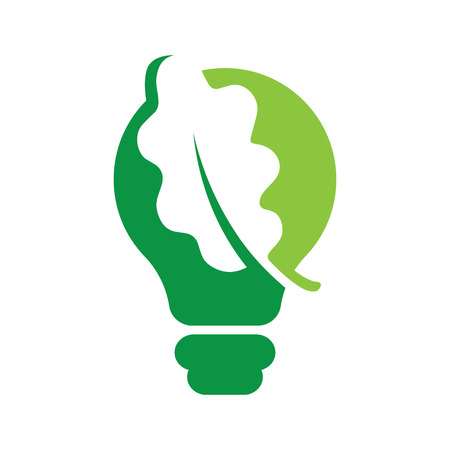 Leaf inside Light Bulb ideas Concept vector eps 10 in white background