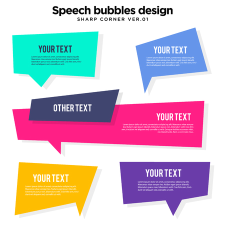 speech bubble set in vector, colorful variation Stock Illustratie