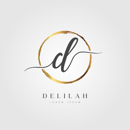 Elegant Initial Letter Type D Logo With Gold Circle Brushed