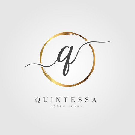 Elegant Initial Letter Type Q Logo With Gold Circle Brushed