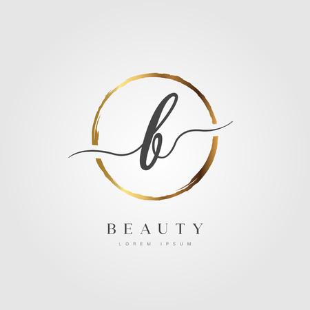 Elegant Initial Letter Type B Logo With Gold Circle Brushed