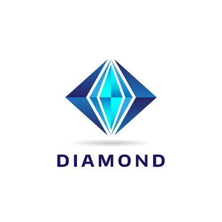 Abstrakte blaue Rautenform Logo Zeichen Symbol Symbol