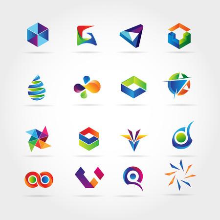 Logo d'entreprise coloré abstrait défini icône symbole signe