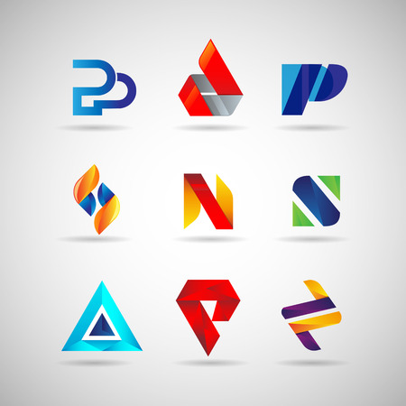 Colorful Logo Set Collection Template Sign Symbol Icon Ilustração