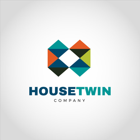 Abstract Colorful Geometry Logo Letter H Type Sign Symbol Icon