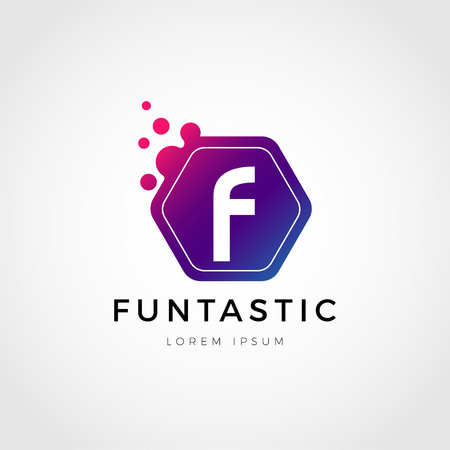 Abstract Colorful Dots Letter F Logo Sign Symbol Icon 矢量图像