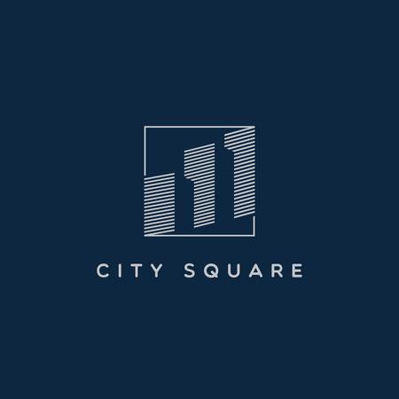 Simple Line Art City Property Realty Logo Sign Symbol Icon Illustration