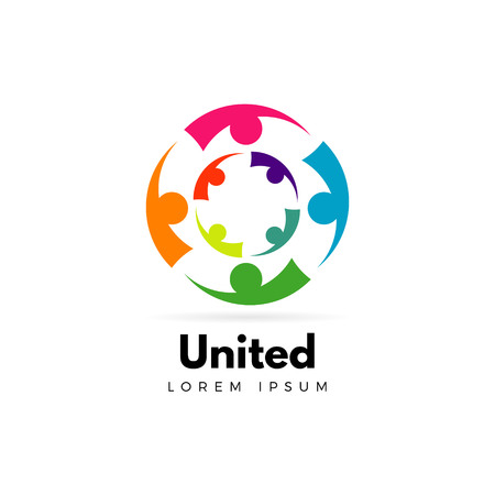 Colorful Unity People Logo Template Sign Symbol Icon 矢量图像