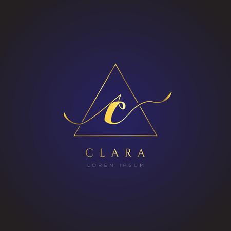 Simple Elegance Initial Letter C Logo Type Sign Symbol Icon 矢量图像