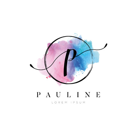 Simple Elegant Water Color Letter Type P Logo Sign Symbol Icon