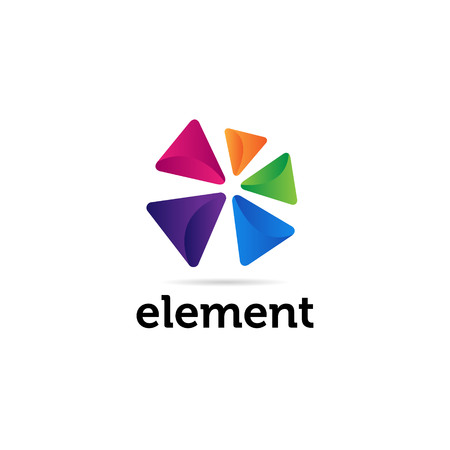 Icono de símbolo de signo de logotipo de formas triangulares coloridas abstractas Logos